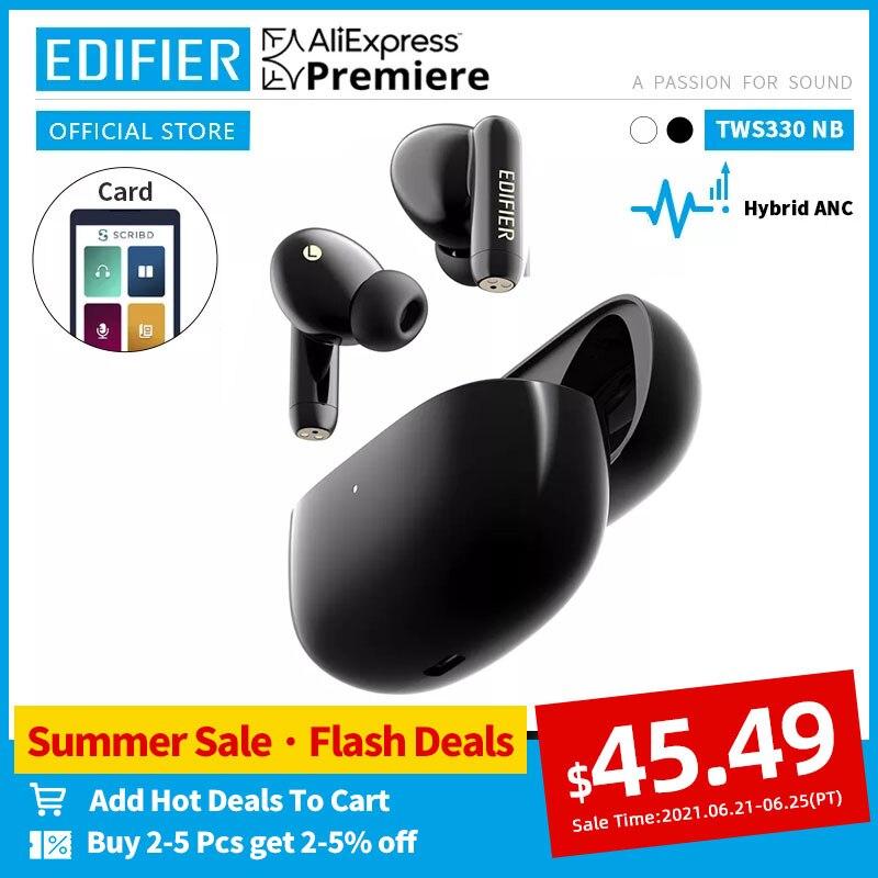 EDIFIER-auriculares inalámbricos TWS330NB con Bluetooth 5,0, dispositivo de audio híbrido, ANC, TWS, AAC, HD, carga rápida, cancelación de ruido, llamadas telefónicas AI