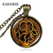 KARAIRIS Religion Jewelry India Buddhist Shiva Pendant Necklace Glass Cabochon Lord of the Dance Destruction Necklaces