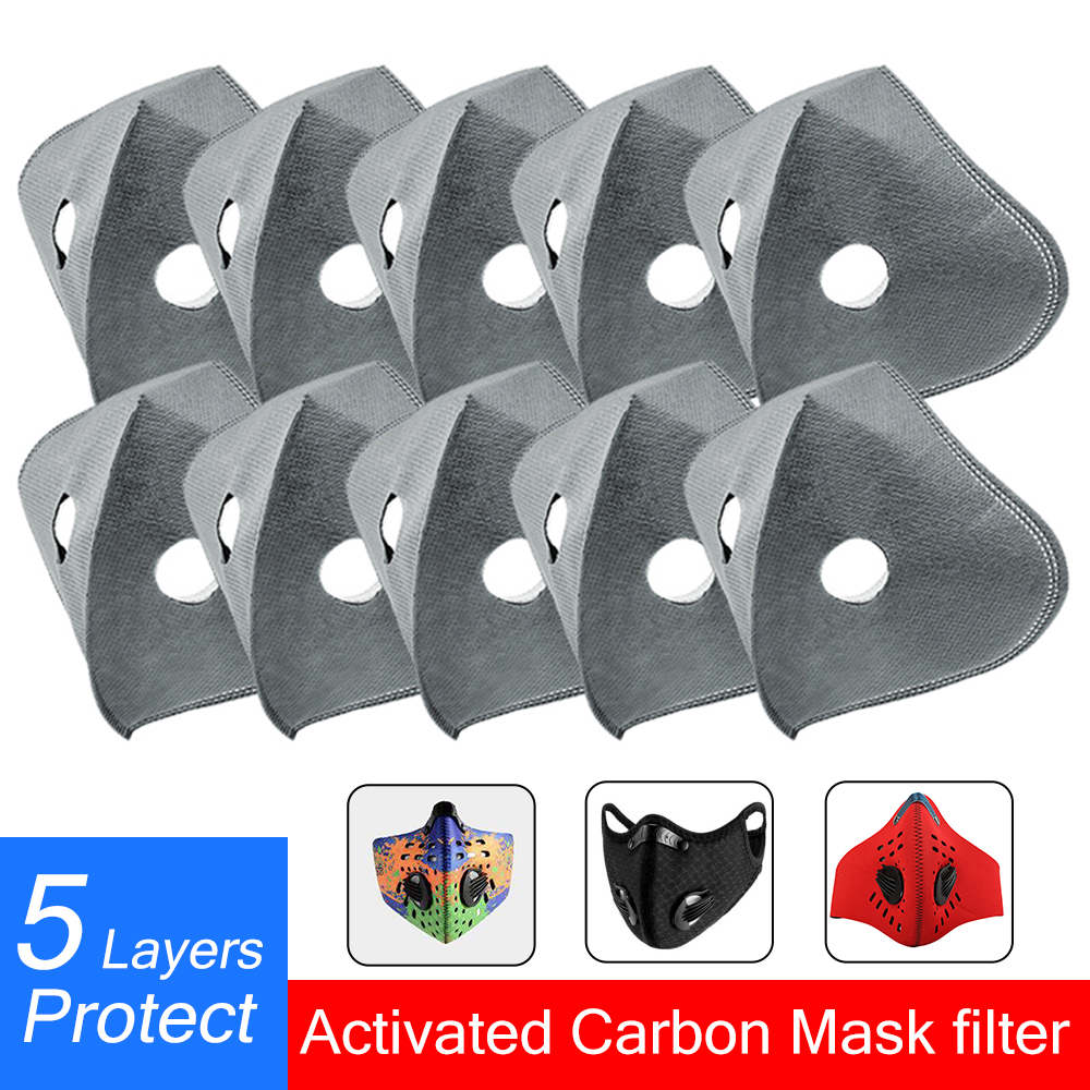 5 Layers KN95 Mask Filter With Active Carbon Mask Filter Anti-Dust PM2.5 Replacement Cycling Mask Filter Protect Effective