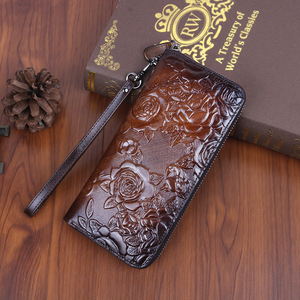 Genuine Leather Women Purse Clutch Handy Bag Printing Rose floral Real Cowhide Female Ladies Card Retro Money Clips Long Wallet(China)