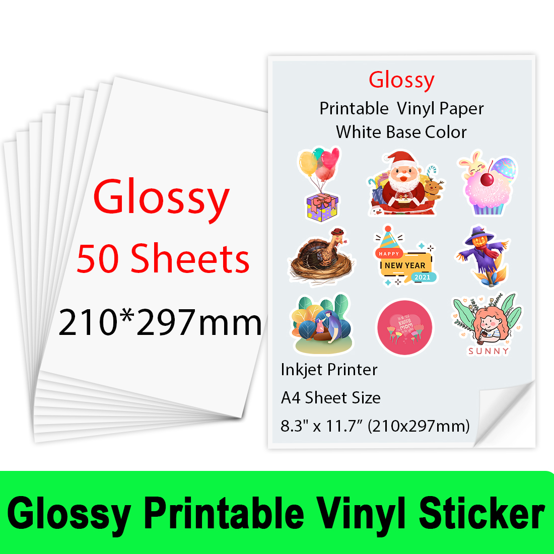 50Sheets Glossy Printable Vinyl Sticker Paper A4 (210*297m) Copy Paper Inkjet Printer Paper for Inkjet printer DIY Gift for Kids
