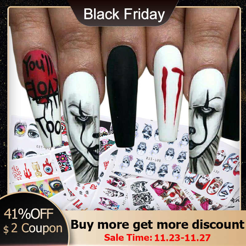 24 Pcs Halloween Nail Art Water Sticker Set Anime Schedel Bone Decals Gel Polish Slider Accessoires Nail Decoraties LASTZ731-755