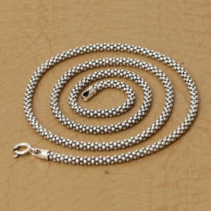 Image 3 - Real Silver Necklace Men Women Thai Silver Corn Necklace Male s925 Sterling Silver Long Chain Retro Pendant Necklace Jewelry