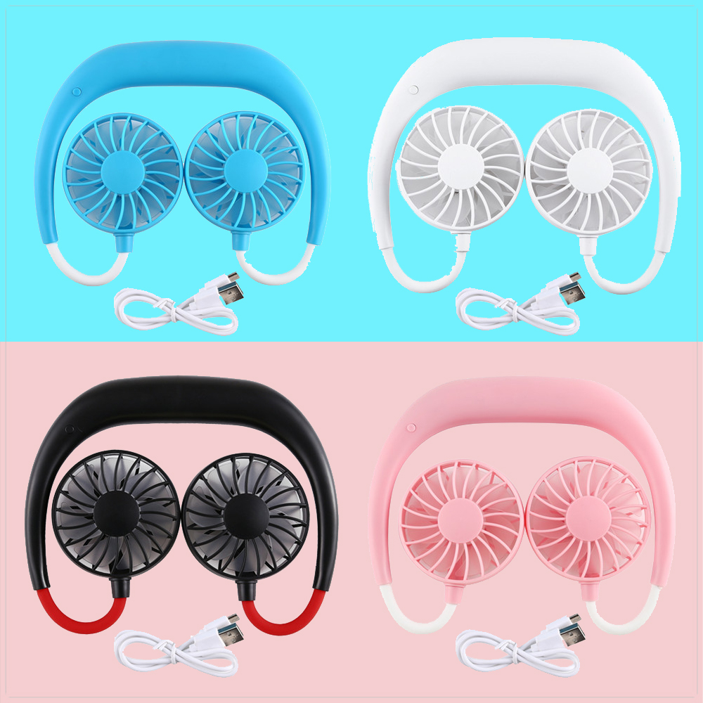 Hands-free Neck Band Hands-Free Hanging Cooling Fan USB Rechargeable Power Radiator <font><b>Mini</b></font> Fan <font><b>Air</b></font> <font><b>Cooler</b></font> Summer <font><b>Portable</b></font> image