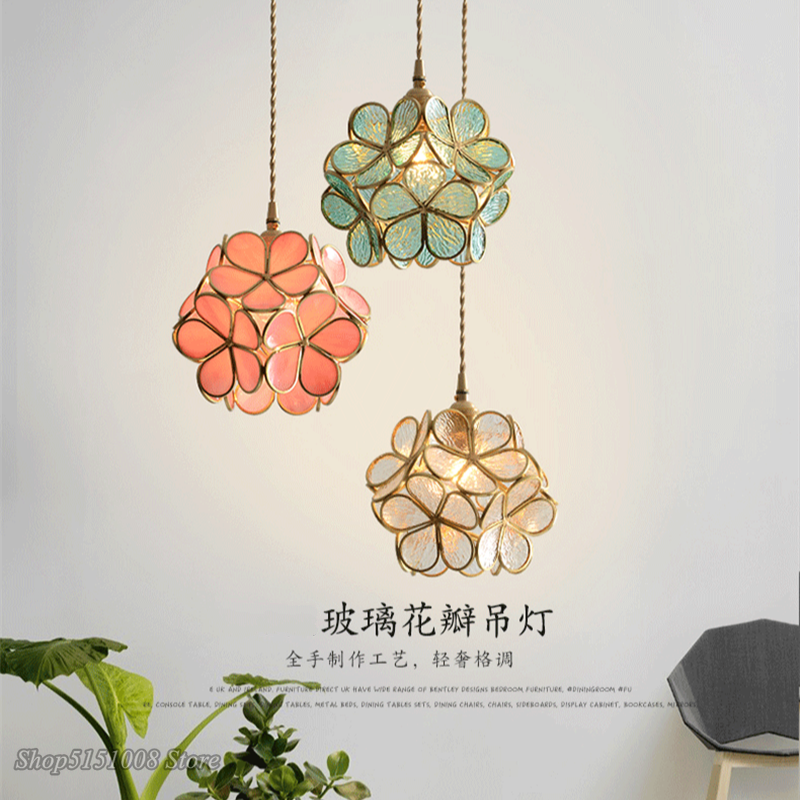 modern Flower Stained Glass LED Pendant light Nordic petal Blossom for Dining Room Bedroom Kitchen Hanging lamp Decor Luminairer