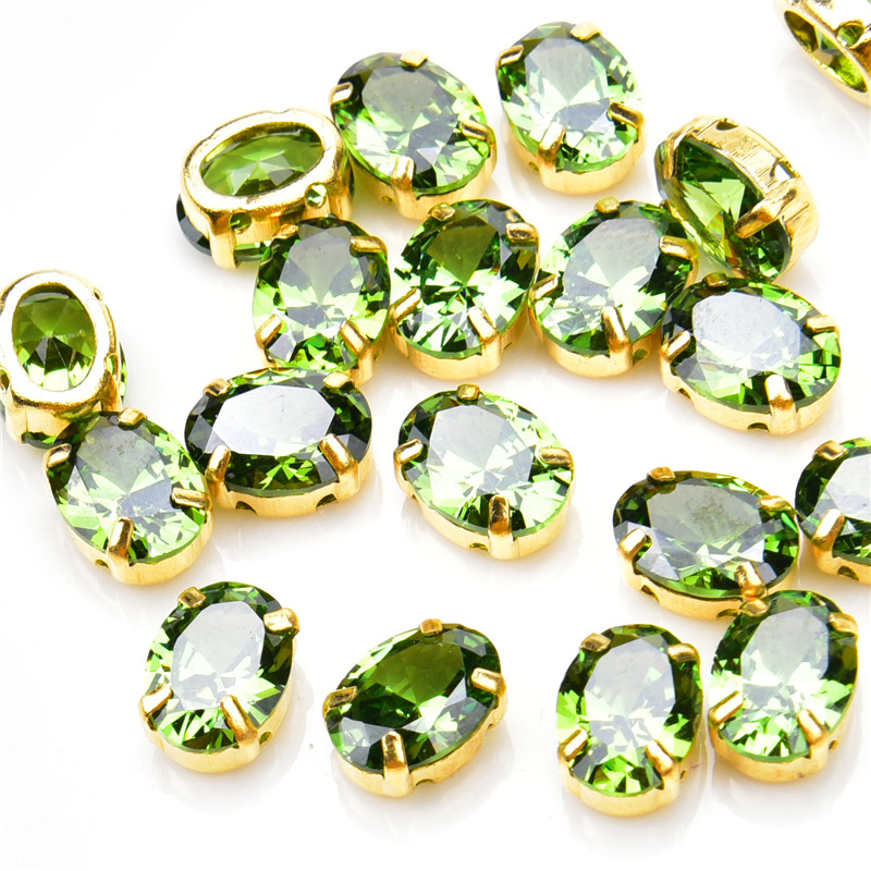 High Quality 15pcs small 5A zircon Crystal Olivine 6*8mm Classicial gold claw sew on stone Pointed Back Rhinestones for clothing(China)