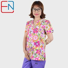 Hennar Women Scrub Top V Neck 100% Cotton Print scrub Uniforms Clinical  Womens Scrubs Tops