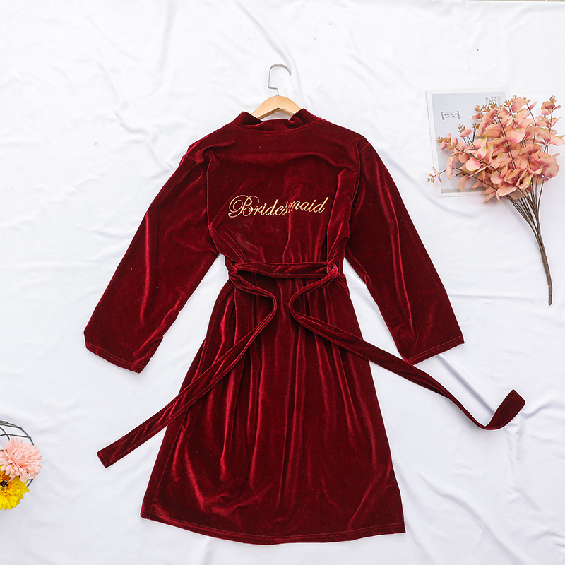Velvet Embroidery Bride Bridesmaid Wedding Robe Sexy Sleepwear Female Nightgown Home Clothing Soft Gift Nightwear Homewear