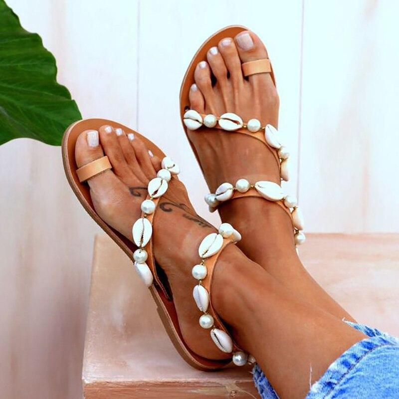 Women Sandels Shoes Summer 2020 Flat Shell Pearl Sandals Flip Flop Female Beach Shoes Peep Toe Casual Ladies Sandals Flat Shoes