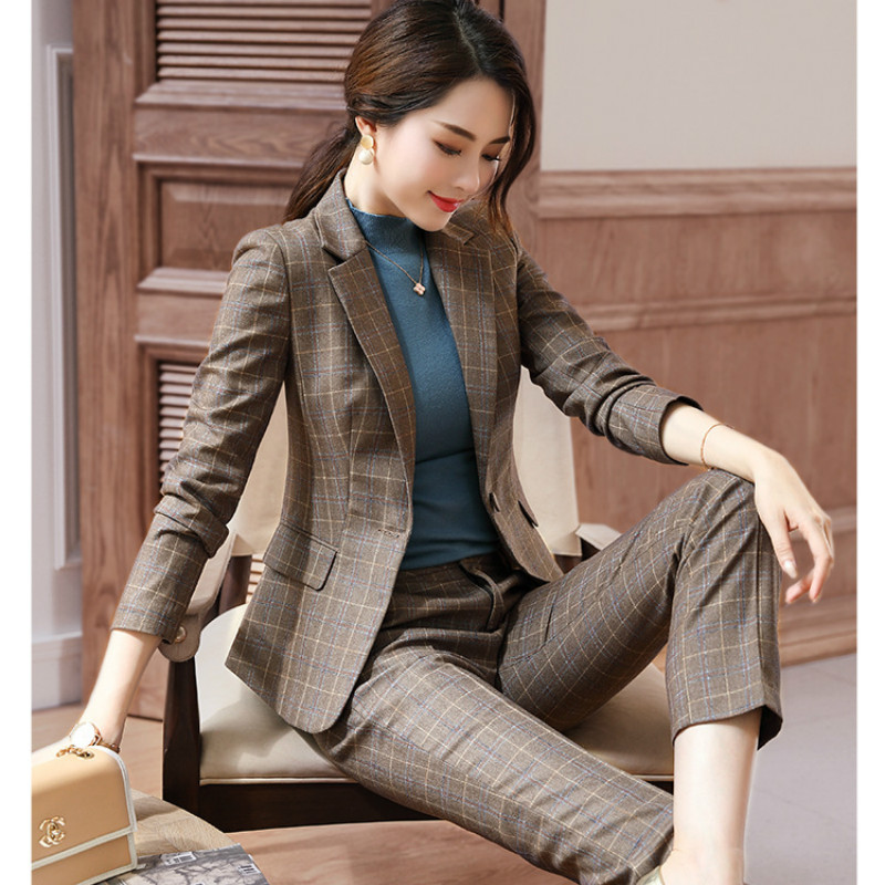 2019 Winter New Women's Suit Casual Temperament Slim Large Plaid Suit Jacket Ladies Slim Trouser Suit High Quality Two Piece Set