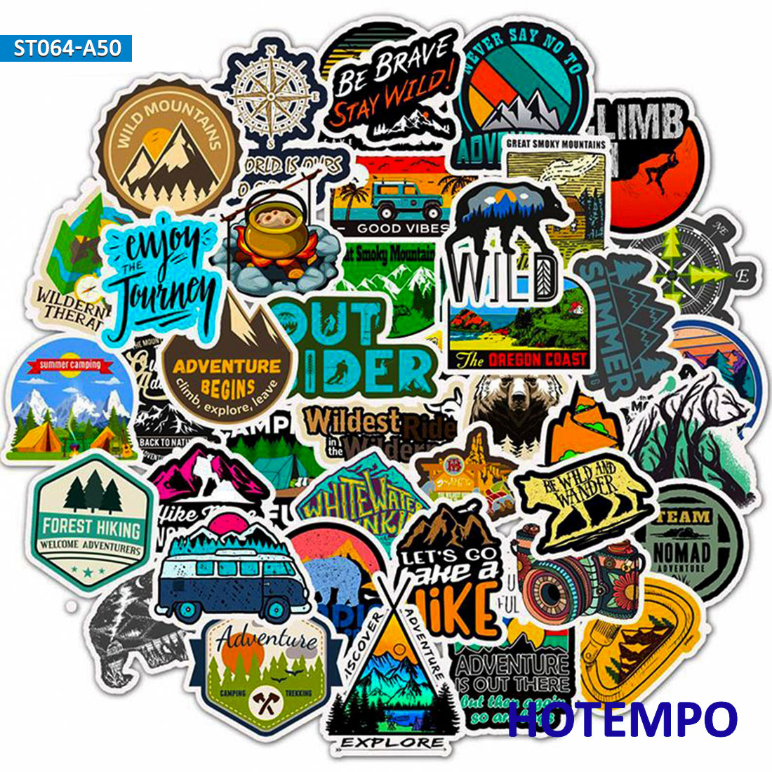 50pcs Outdoor Wild Camping Adventure Climbing Travel Landscape Stickers For Mobile Phone Laptop Luggage Guitar Case Art Stickers
