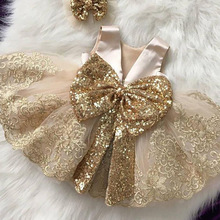 2021 Summer Sequin Big Bow Baby Girl Dress 1st Birthday Party Wedding Dress For Girl Palace Princess Evening Dresses Kid Clothes