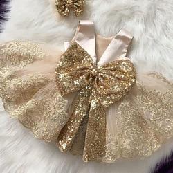 2021 летнее платье с блестками и большим бантом для маленьких девочек платье 1st Платье для дня рождения, свадебных торжеств для девочек принце...