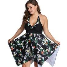 Plus Size 2PCS Women Tankini Halter Swimdress Swimsuit Swimwear Floral Bikini Summer Holiday Beach Dress Bathing Suit 2XL-6XL цена 2017