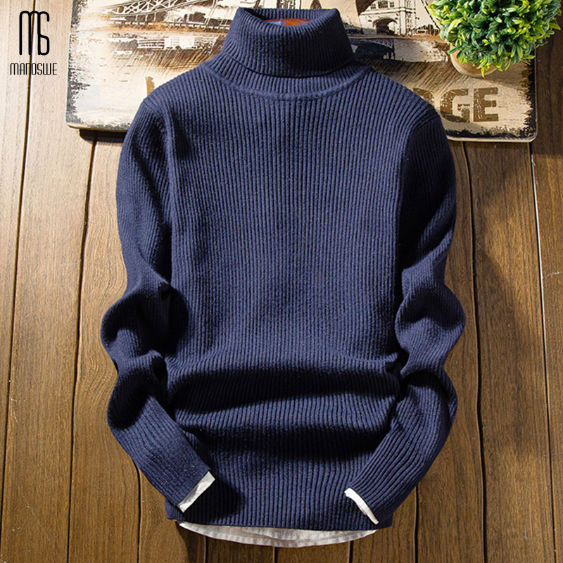 Manoswe Winter Men's Turtleneck Warm Solid Sweater 2019 Casual Double Collar Casual Long Sleeve Slim Pullover Jumper Christmas