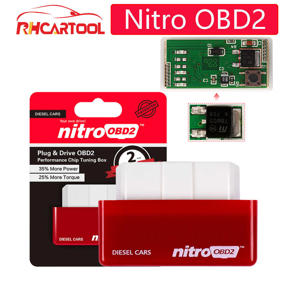 100% A+++ Quality NitroOBD2 Full Chip Tuning Box For Benzine Diesel Cars Nitro OBD2 Plug&Drive OBDII Interface With Retail Box