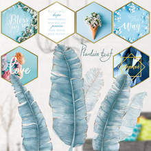 Nordic style Blue Leaves Wall Stickers for Living room Bedroom Dining room Kitchen Kids room DIY Vinyl Wall Decals Door Murals plants wall stickers green leaves wall decals wall paper diy vinyl murals for bedroom living room kids room wall decoration