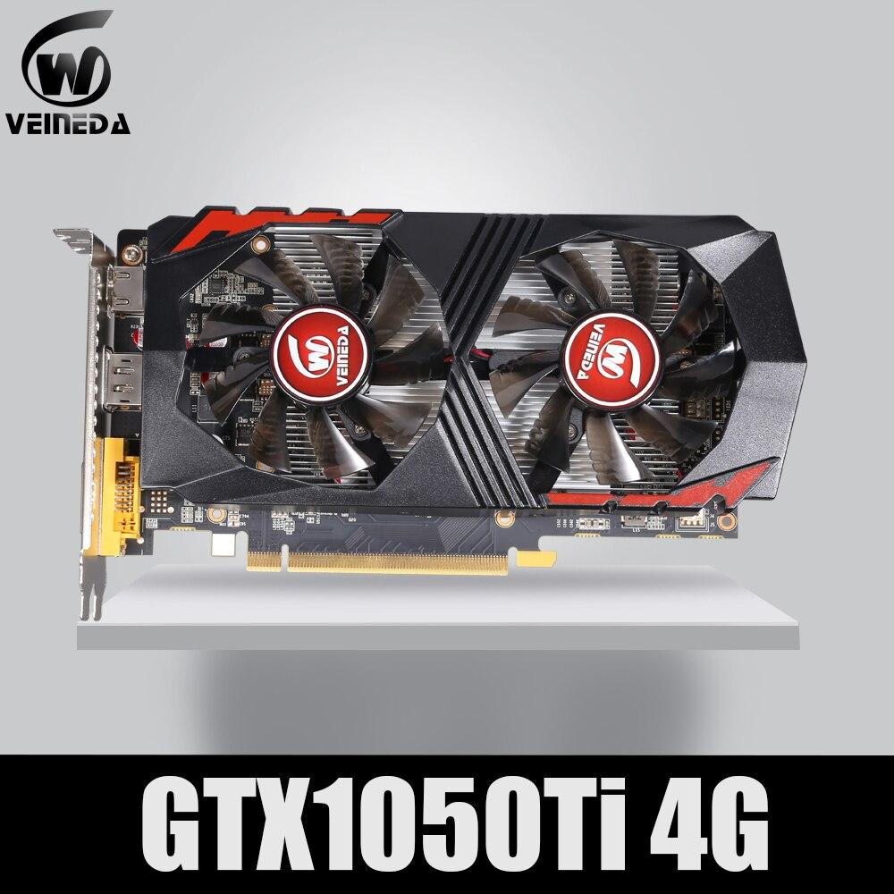 Carte graphique VEINEDA GTX1050Ti GPU 4GB DDR5 PCI-E 128Bit pour cartes nVIDIA VGA Geforce GTX1050ti Hdmi Dvi jeu 1050