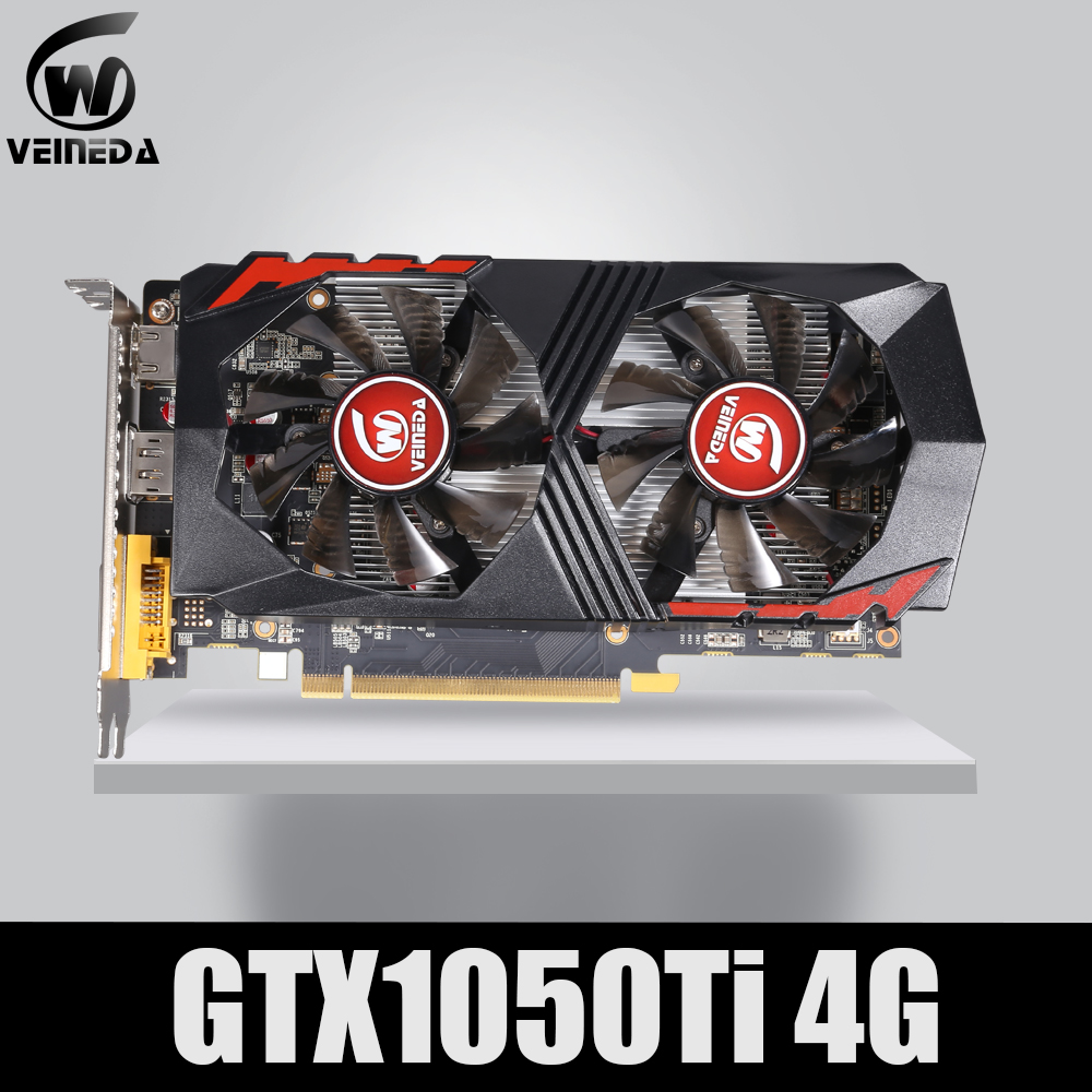 VEINEDA Graphics Card GTX1050Ti GPU 4GB DDR5 PCI-E 128Bit for nVIDIA VGA Cards Geforce GTX1050ti Hdmi Dvi game 1050 image