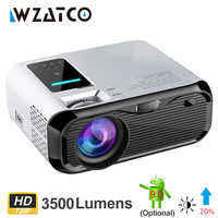 WZATCO E500 720P HD Proyector 1280*800 3500 lúmenes HDMI Home theater Android 9,0 proyectores opcionales Proyector wi-fi LCD Proyector