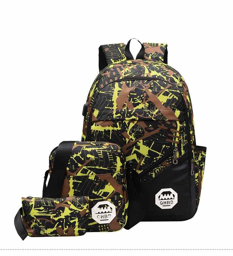 5 pces conjunto luminoso/dj mochila estudante ombro adolescente mochila lápis saco de escola