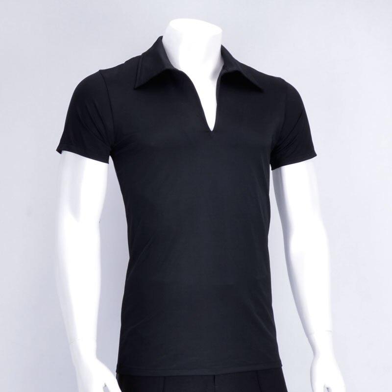 2020 Latin Dancing Top Male Professional Dancewear Black Color Short Sleeve V-neck Tops Competition Adult Ballroom Shirt  3898