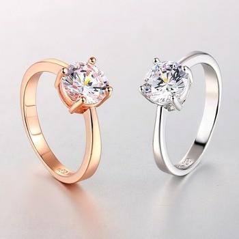 Luxury Rose Gold Women Diamond Ring for Wedding Engagement Statement Rings Rhinestone AAA White Zircon Cubic Rings Fine Jewelry 4