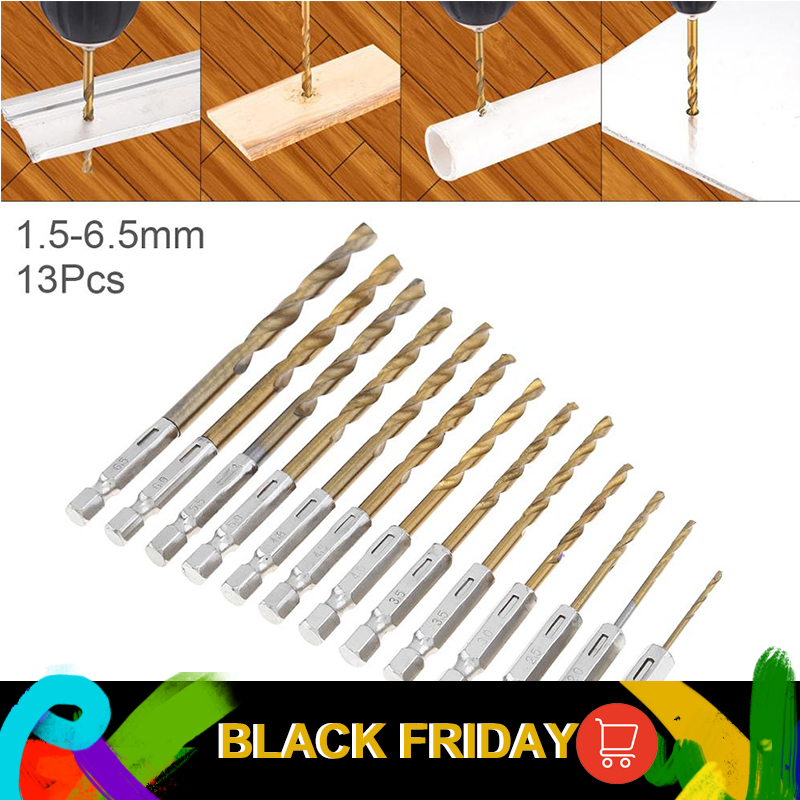 13pcs/lot HSS Drill Bit For Metal Twist Drill Set 1.5~6.5mm Titanium Coated Drill Bits With Hexagon Shank Metal Drill