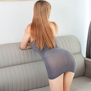 Mini vestido ajustado de seda de hielo liso transparente para adultos ropa erótica de fantasía Sexy
