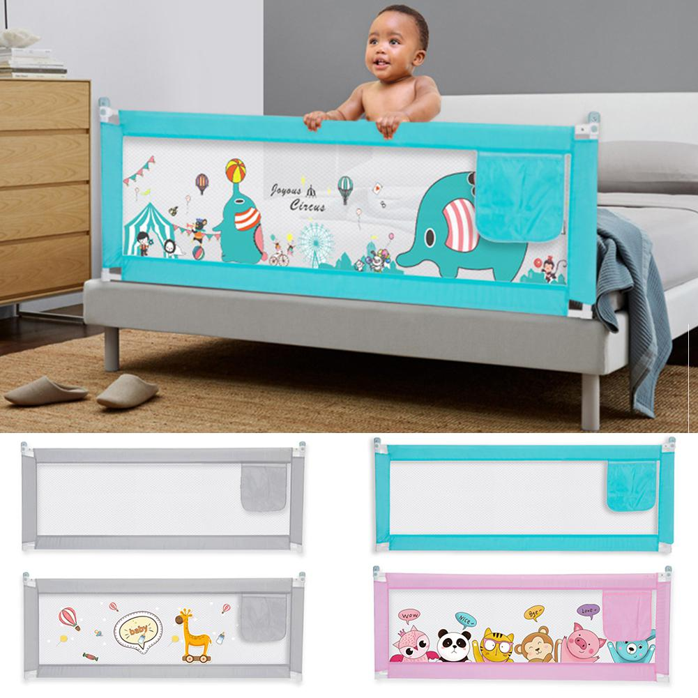 Kuulee Double Buttons Vertical Lifting Bed Fence Playing Safety Gate For Kids Baby Infant