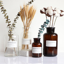Nordic Glass Vase Ins Wind Home Creative Jewelry Plants Bonsai Decor Transparent Dried Flowers Hydroponic Small Brown