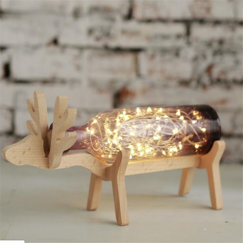 Ins Hot Romantic Wood Dear Kids Room Table Light Lovely Sky Stars Glass Bottle Bed Lamp DIY kids Gift USB Plug Free Shipping - 2