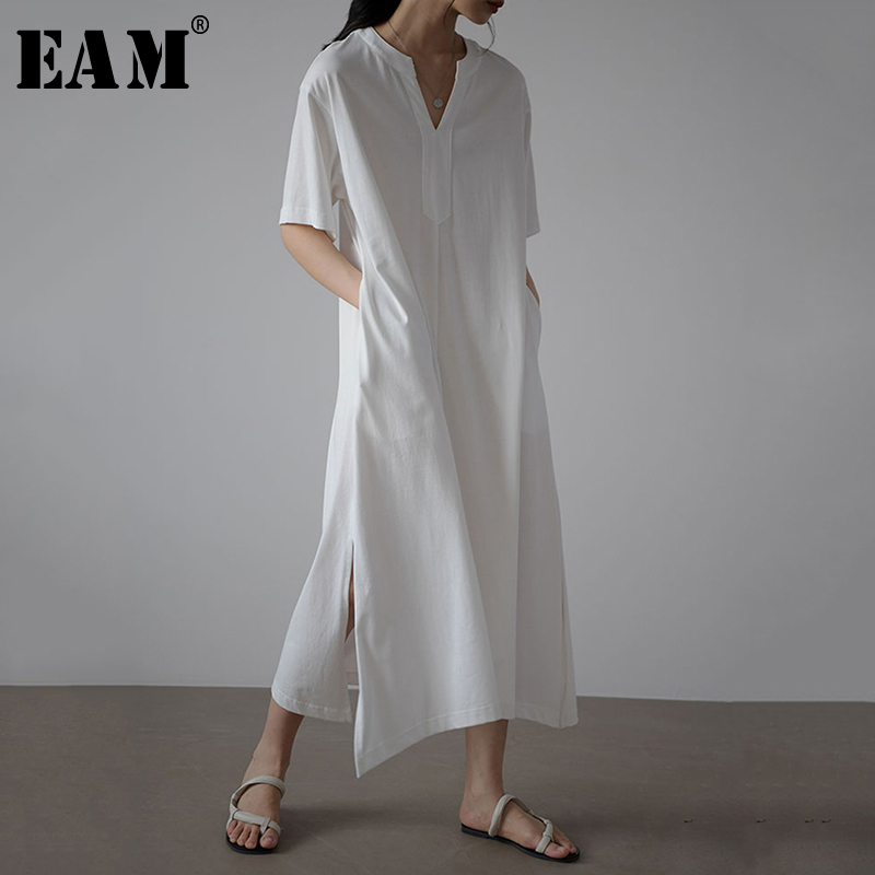 [EAM] Women White Bandage Vent Long Elegant Dress New V-Neck Half Sleeve Loose Fit Fashion Tide Spring Summer 2020 1X606