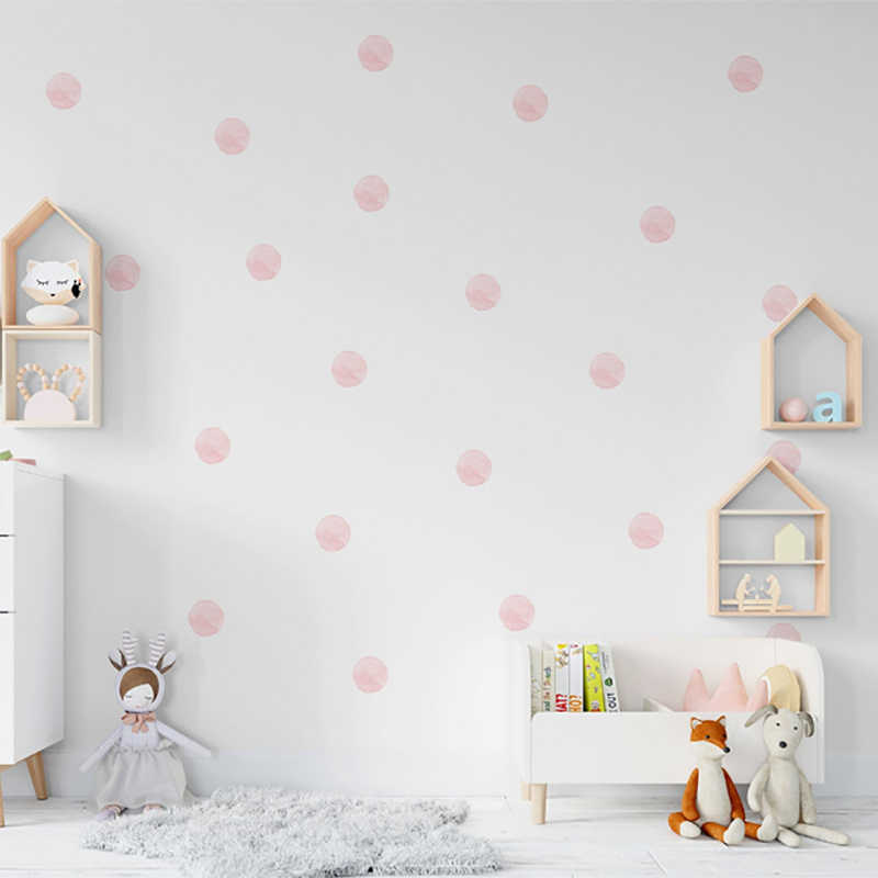 36 ピース/セット水彩ドット壁ステッカー子供の部屋のための装飾 diy フェード抵抗家庭用寝室のインテリア