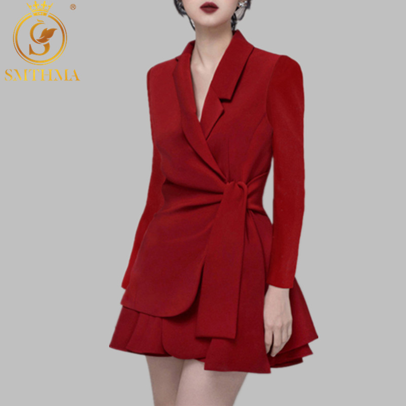 SMTHMA New Two-piece Women Red And Black Skirt Set Female Elegant Autumn Winter Long Sleeve Bow Suits