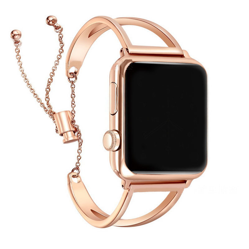 Applicable APPLE Watch Apple 12/3/4-Watch Strap Stainless Steel Bracelet Steel Belt V Rose Gold Chain Watch Strap