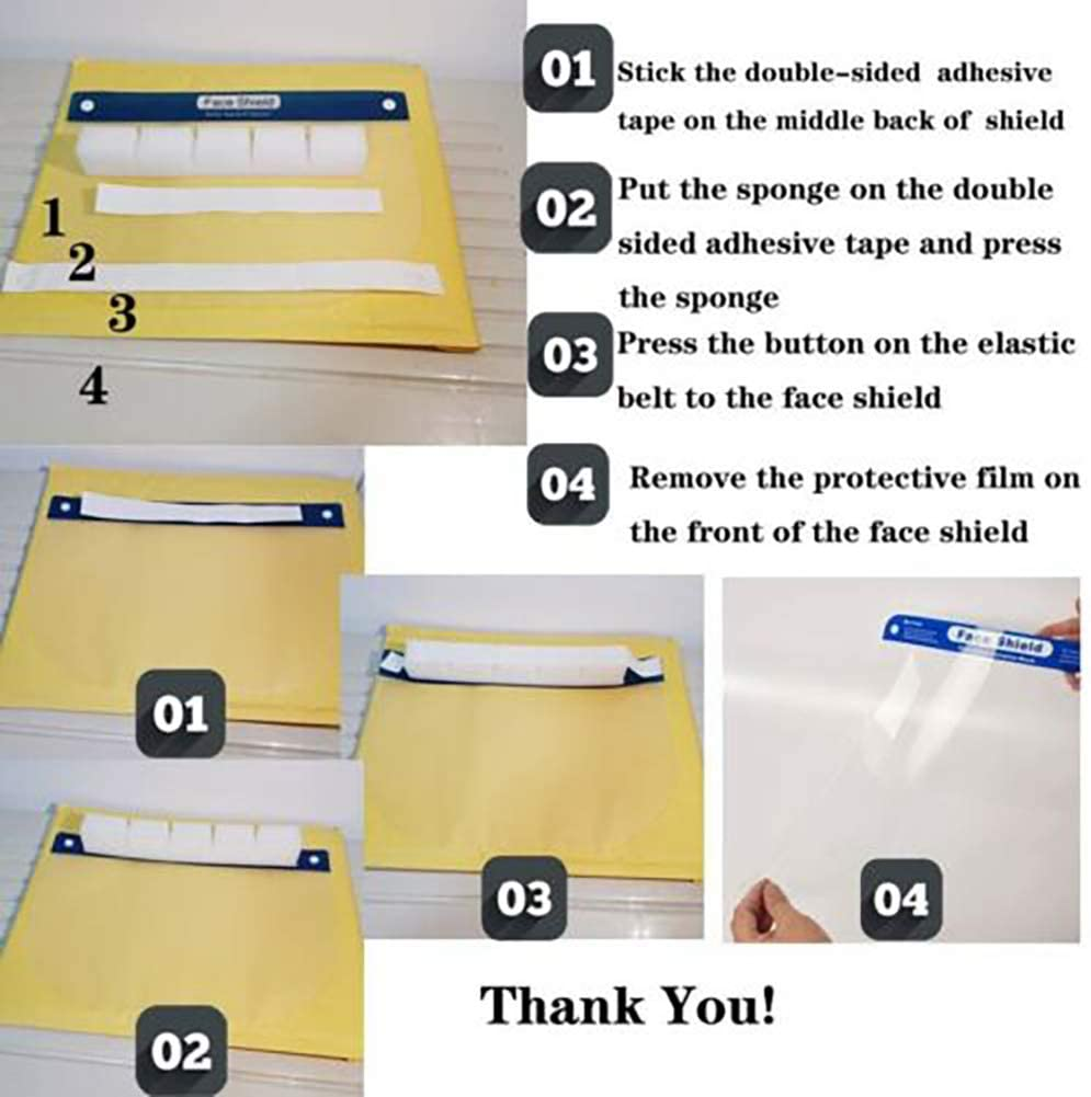 1-20 PCS Anti-Fog Clear Face Cover and Protective Face Shield for Industrial and Medical Use