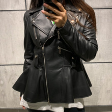 Senhoras jaqueta de couro real jaqueta de couro feminino natural pele de cordeiro casaco