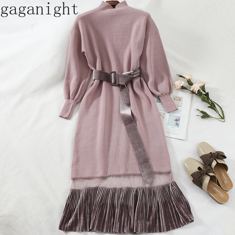 Gaganight Women Autumn Winter Dress Long Sleeves Turtleneck Knitted Maxi Dresses Office Ladies Korean Patchwork Slim Sashes