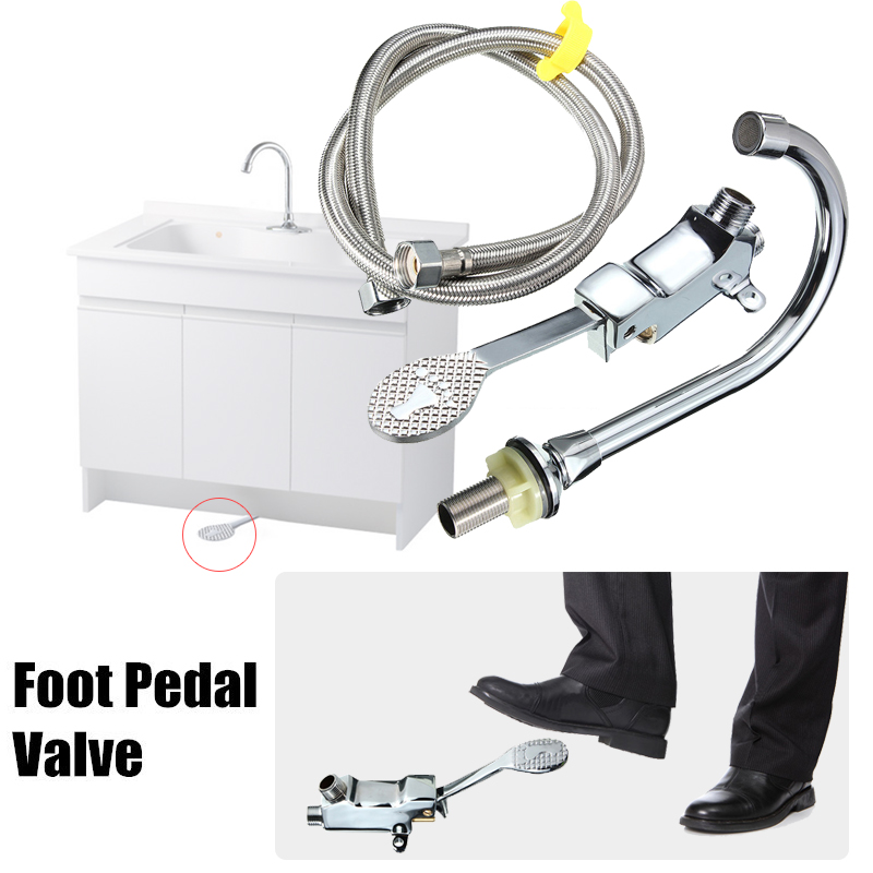 Xueqin Foot Pedal Valves Faucet+Hose Kitchen Bathroom Medical Laboratory Public Place Chrome Brass Nickel Basin Tap Sink Mixer