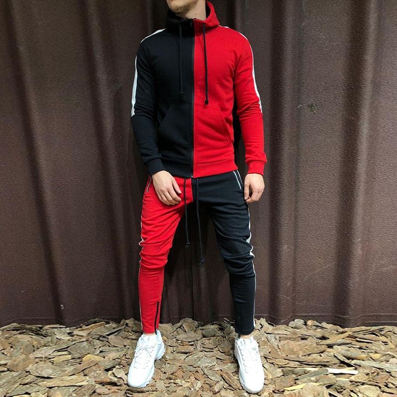 Half Black Half White Pant Sweatshirt Male Sweatsuit Splice Outfit Men Tracksuit Hoodie Set Two Pieces Autumn Winter Sports Suit