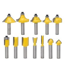 цена на 12Pcs/set Milling Cutter Router Bit Set 8Mm Wood Cutter Carbide Shank Mill Woodworking Trimming Engraving Carving Cutting Tool