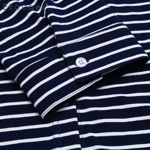 Image 5 - Ekouaer Women Cotton Nightgown Summer Nightwear V neck 3/4 Sleeve Striped Button Night Dress Female Soft Nightdress