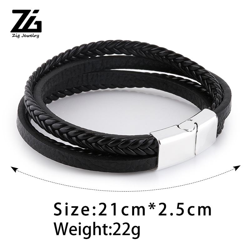 ZG 2019 New Arrival Men's Braided Leather Bracelets & Bangles in Black and Brown Color with Magnetic Punk Bracelet for Man