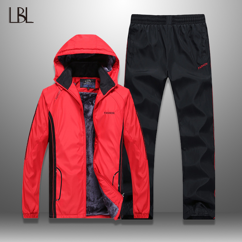 New Men Sets Sportswear Fashion Autumn Winter Sporting Suit Jacket +Sweatpants Mens Clothing 2 Pieces Sets Slim Tracksuit Male