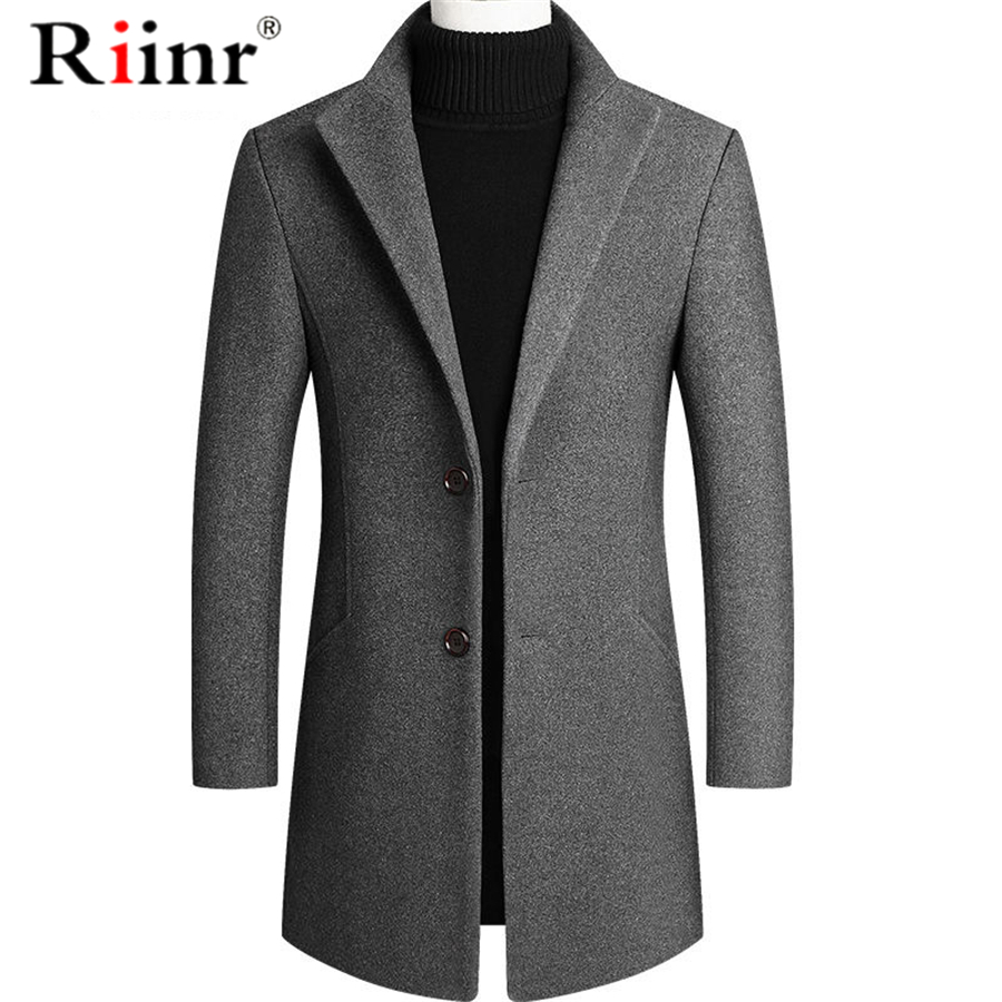Riinr Brand Men Wool Blends Coats Autumn Winter New Solid Color High Quality Men's Wool Coats Luxurious Wool Blends Coat Male
