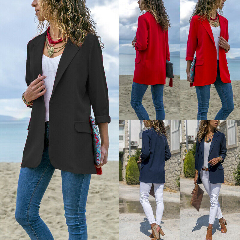 Stylish Women Cotton Blend Slim Business Blazers Work Wear Comfortable Suit Outwear New 2019 Autumn Spring Arrival OL Coats