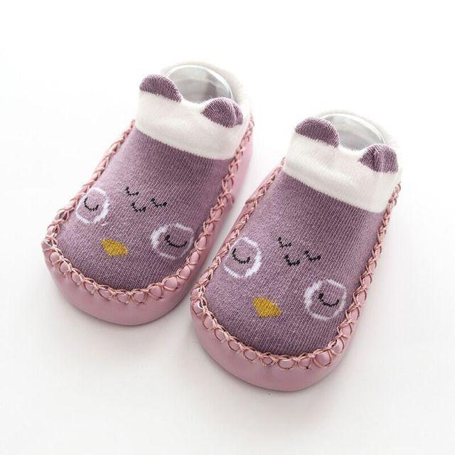 Cartoon Socks Shoes Girls Kids Baby Skin Sole Socks Infant Toddler Shoes Fur Non-slip Soft Bottom Floor Socks Crib Shoes Unisex 6