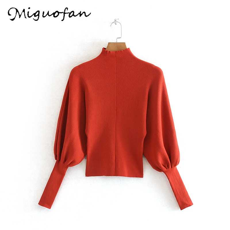 Miguofan Wanita Solid Tops Sweater Wanita Sweater Turtleneck Jumper Rajutan Tipis Sweater Lentera Lengan Elastis Slim Pullovers