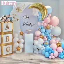 HUIRAN Macaron cukierki pastelowe lateksowe balony list złota skrzynia 1. Dekoracja urodzinowa Oh Baby Shower dziewczyna cukierki wesele